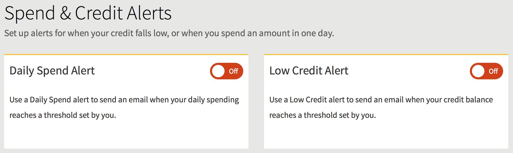 Spend Credit Alerts