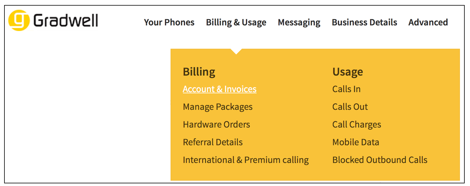 Billing Invoices Menu
