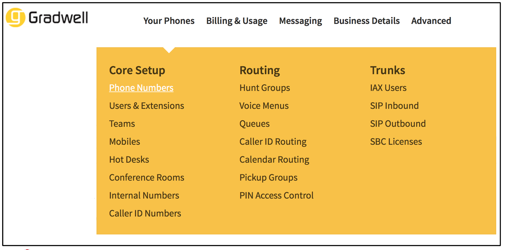 Phone Numbers Menu